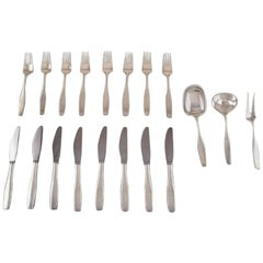 """Hans Hansen """"Charlotte"""" Silver Cutlery in Sterling Silver, Service for Eight P."""