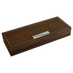 Hans Hansen Rosewood Box with Loose Lid with Sterling Silver Inlay