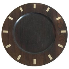 Hans Hansen Rosewood Plate with Silver Inlay