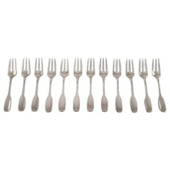 "Hans Hansen Silver Cutlery, Twelve ""Susanne"" Cake Forks in Sterling Silver"