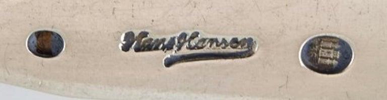 Danish Hans Hansen Silverware Number 15, Sugar Spoon in Silver, 2 Pieces For Sale
