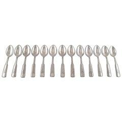Hans Hansen Silverware Number 2, 13 Dessert Spoons in All Silver