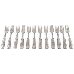 Hans Hansen Silverware Number 2, Set of 12 Pastry Forks in All Silver