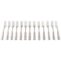 Hans Hansen Silverware Number 2, Set of 13 Lunch Forks in All Silver