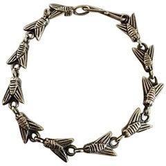 Hans Hansen Sterling Silver Bracelet with Fly Links