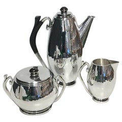 Hans Hansen Sterling Silver Coffee set with Coffee pot, creamer and sugar