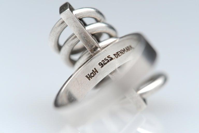 Hans Hansen Sterling Silver Modernist Kinetic Ring Denmark Vintage Scandinavian For Sale 7