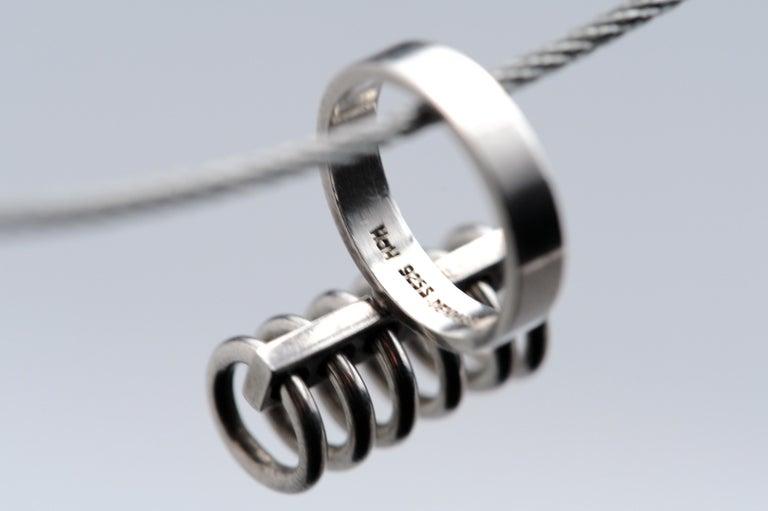 Hans Hansen Sterling Silver Modernist Kinetic Ring Denmark Vintage Scandinavian For Sale 9
