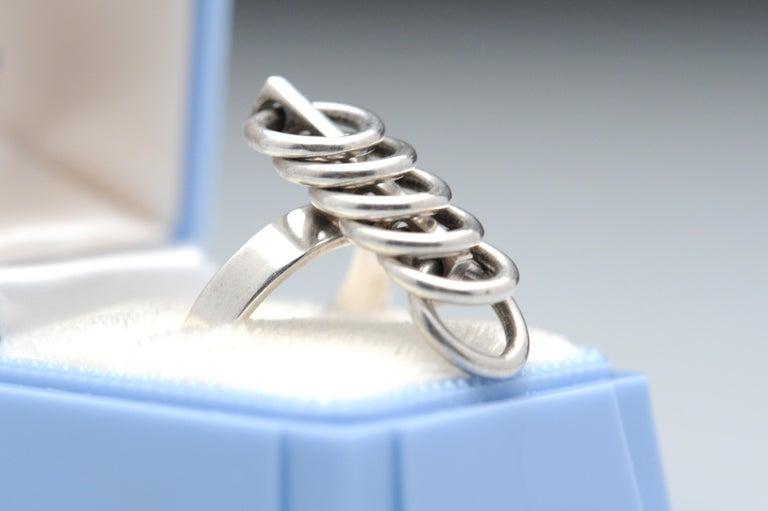 Hans Hansen Sterling Silver Modernist Kinetic Ring Denmark Vintage Scandinavian In Good Condition For Sale In Washington, DC