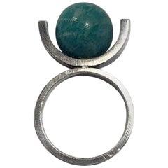 Hans Hansen Sterling Silver Ring No 36 with Aventurine Ring