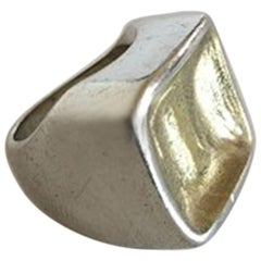 Hans Hansen Sterling Silver Ring with Gilded Top