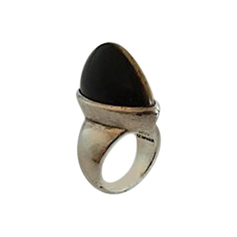 Hans Hansen Sterling Silver Ring with Tiger's Eye Karl Gustav Hansen For Sale