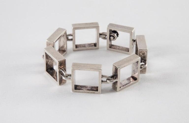 Hans Hansen Sterling Silver Square Link Bracelet 7.25