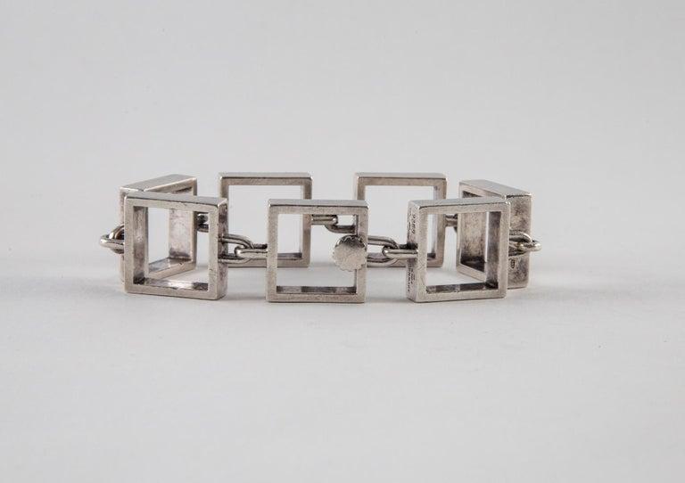 Hans Hansen Sterling Silver Square Link Bracelet In Good Condition For Sale In Norwalk, CT