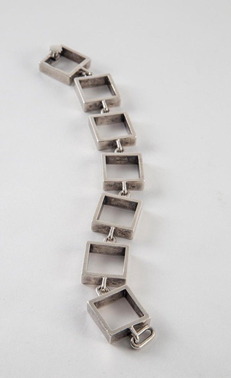 Hans Hansen Sterling Silver Square Link Bracelet For Sale 1
