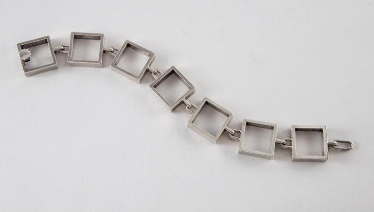 Hans Hansen Sterling Silver Square Link Bracelet For Sale 2