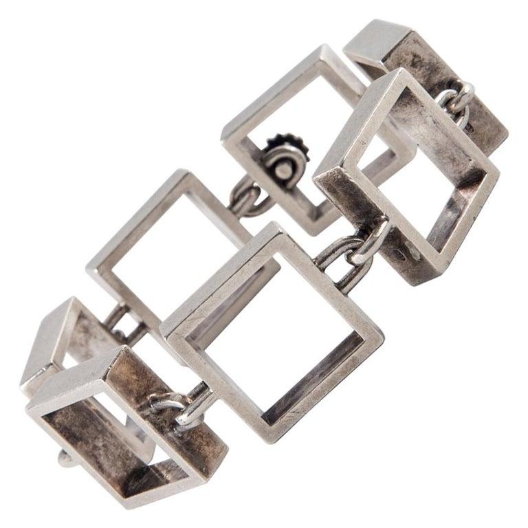 Hans Hansen Sterling Silver Square Link Bracelet For Sale