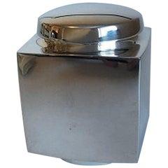 Hans Hansen Sterling Silver Square Tea Box with Round Lid by Karl Gustav Hansen