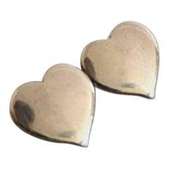 Hans Hansen Sterling Silver Two Hearts Brooch