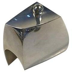 Hans Hansen Sterling Silver Vase Pear-Shaped Body, Engraved Geometric Pattern