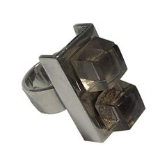 Hans Hansen Sterling Silver with 2 Smoke Colored Stones Ring