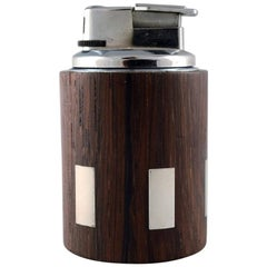 Hans Hansen, Table Lighter in Rosewood with Inlaid Silver, 1960s, Denmark