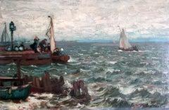Harbour at rough sea, Pomerania
