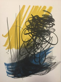 Abstract Composition - Signs on Yellow - Original Lithograph by Hans Hartung