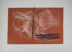 Brown Abstract Composition - Original Lithograph, 1971