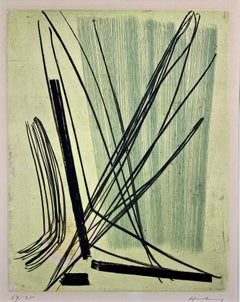 "Color Etching ""R7"" by Hans Hartung, 1953, hand signed and limited"