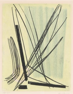 "Abstract Color Etching ""R7"" by Hans Hartung, French, Informel"