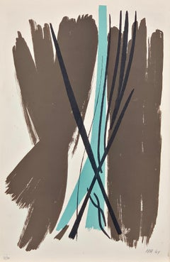"Abstract Color Lithograph ""L07"" by Hans Hartung, 1949, French, Informel"