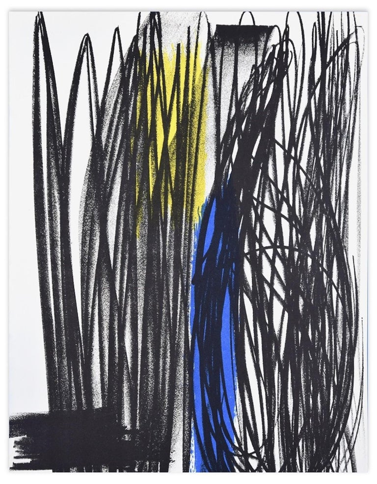 """Influence is an original colored print realized by Hans Hartung in 1975.  It comes from the portfolio """"San Lazzaro et ses Amis. Hommage au fondateur de la revue XXe siècle"""" published by XXe Siècle, Paris, in 1973 and printed by Mourlot. Unsigned and"""