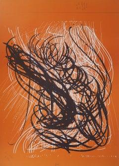 S Orange Abstract Composition - Original Lithograph, 1971