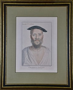 18th C. Bartolozzi Portrait of Brooke Cobham from a 16th Century Holbein Drawing