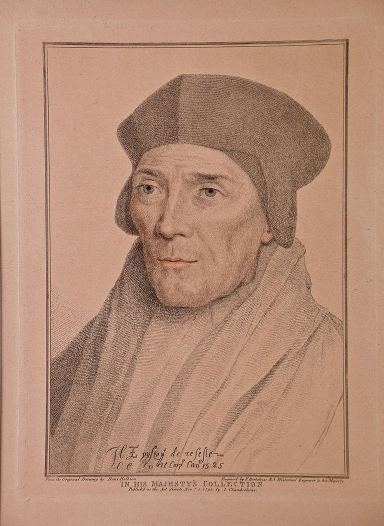18th C. Bartolozzi Portrait of John Fisher from a 16th Century Holbein Drawing - Print by Hans Holbein