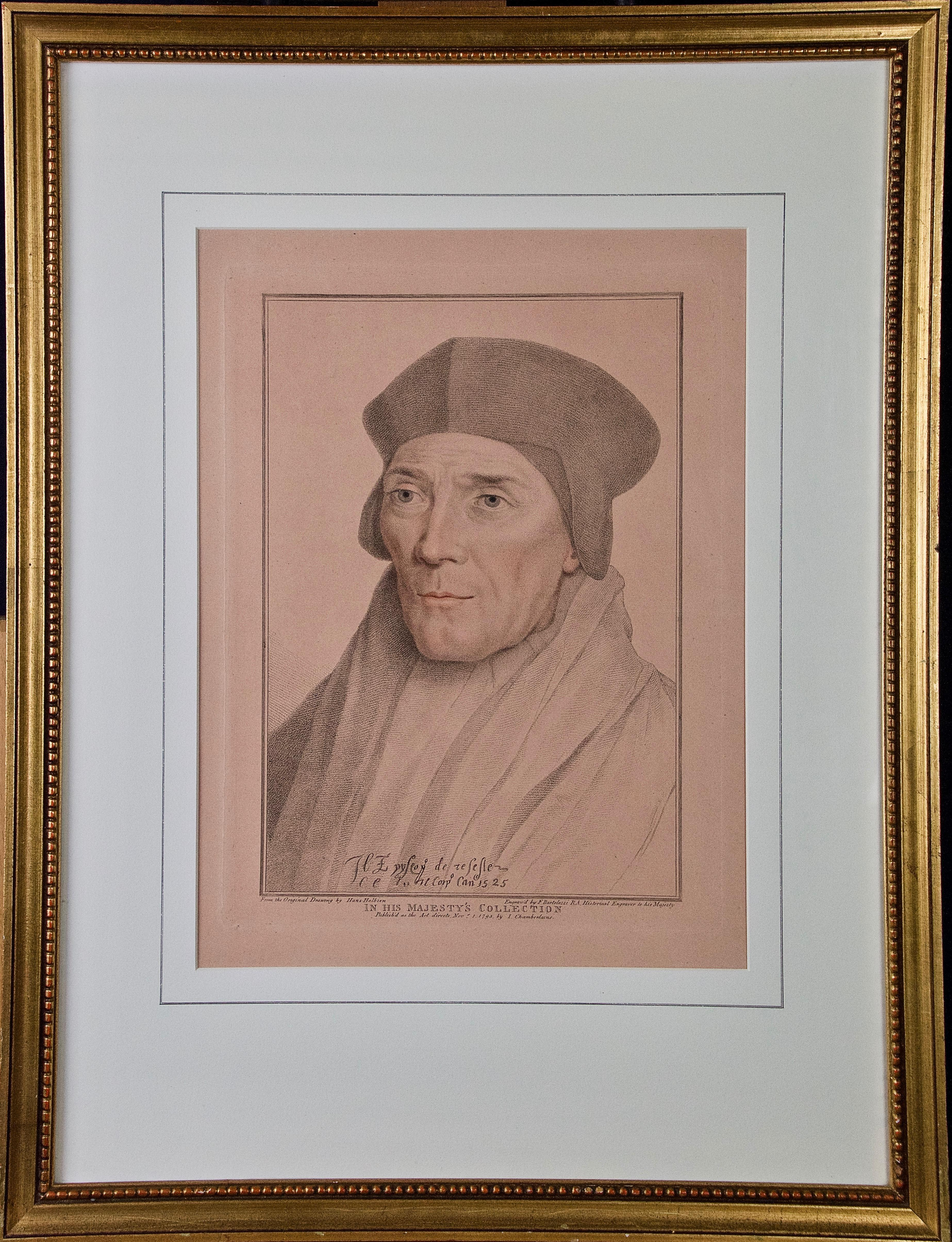 18th C. Bartolozzi Portrait of John Fisher from a 16th Century Holbein Drawing