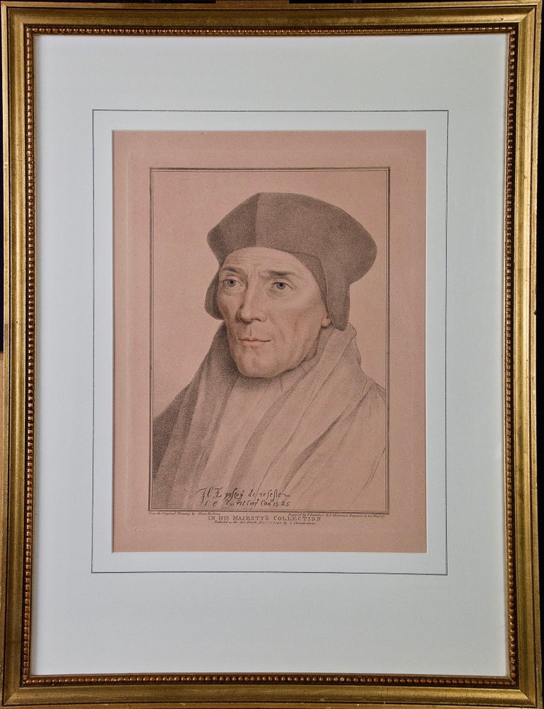 Hans Holbein Portrait Print - 18th C. Bartolozzi Portrait of John Fisher from a 16th Century Holbein Drawing