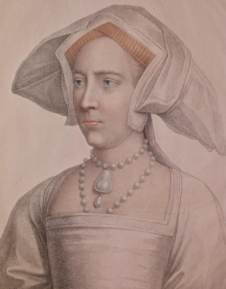 18th C. Bartolozzi Portrait of Lady Mary from a 16th Century Holbein Drawing - Print by Hans Holbein