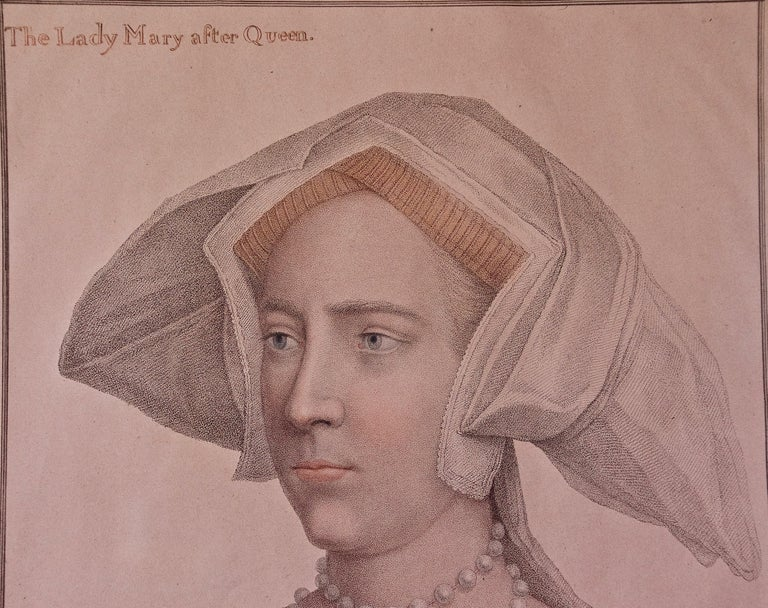 18th C. Bartolozzi Portrait of Lady Mary from a 16th Century Holbein Drawing - Old Masters Print by Hans Holbein