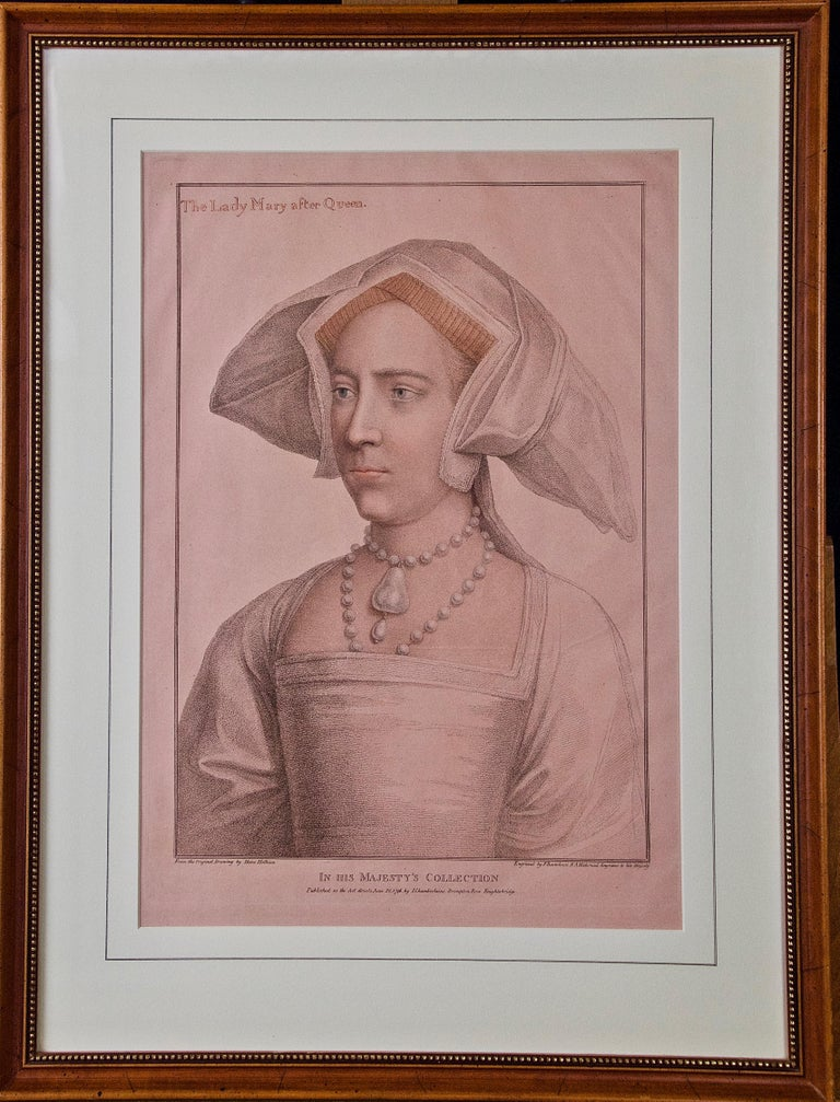 Hans Holbein Portrait Print - 18th C. Bartolozzi Portrait of Lady Mary from a 16th Century Holbein Drawing