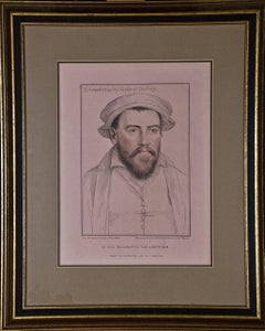 18th C. Portrait of Edward Stanley from Henry VIII's Court after Holbein Drawing