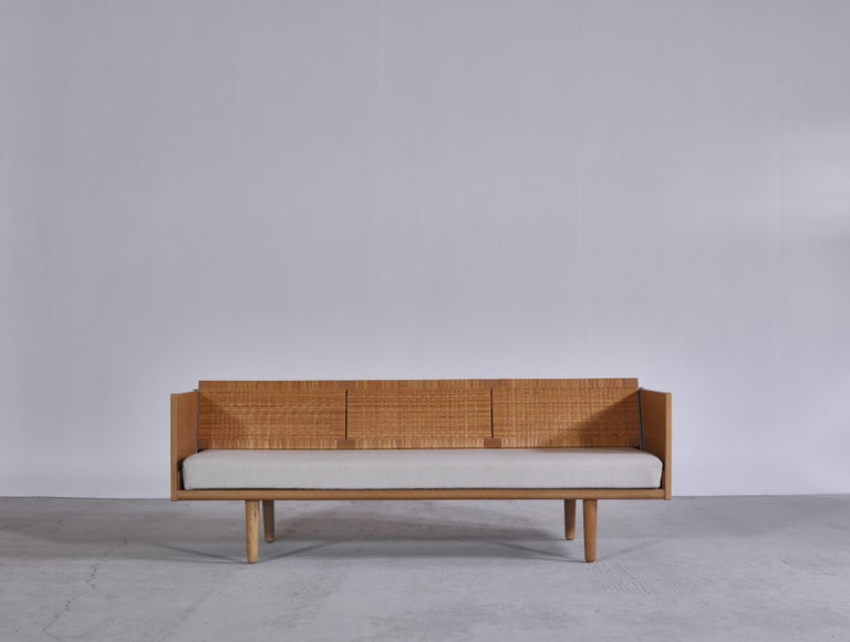 Scandinavian Modern Hans J. Wegner 1950s Danish Modern Daybed in Oak and Rattan