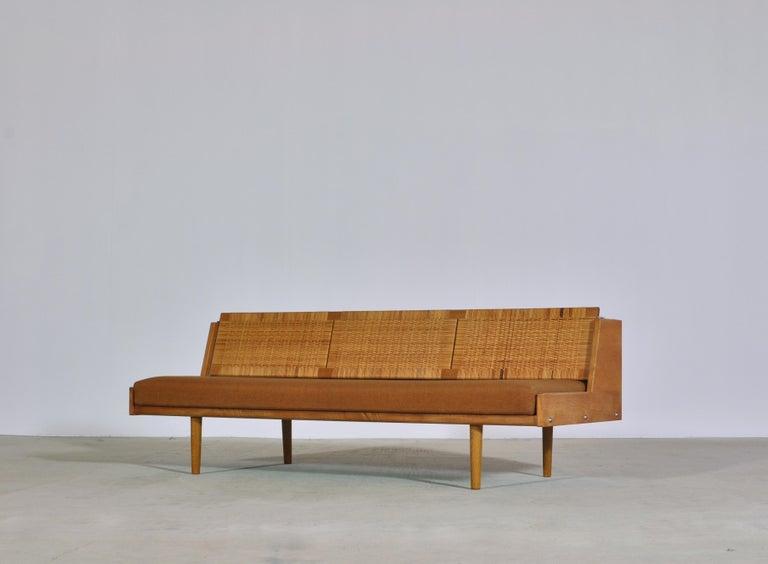 Scandinavian Modern Hans J. Wegner 1950s Danish Modern Daybed in Oak and Rattan