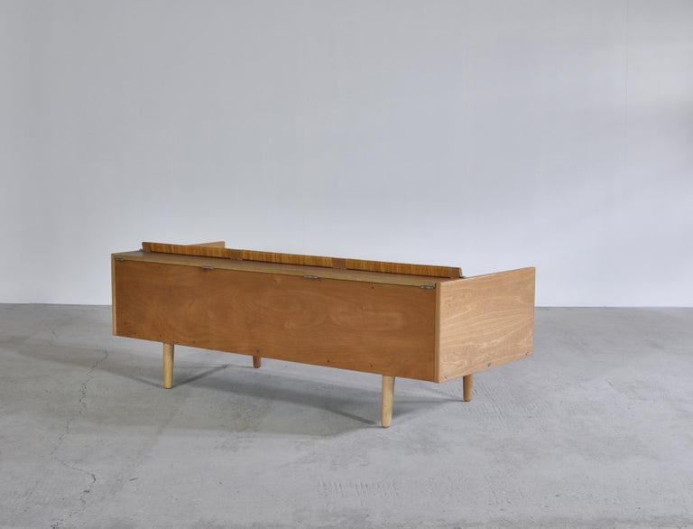 Wool Hans J. Wegner 1950s Danish Modern Daybed in Oak and Rattan