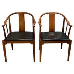 "Hans J. Wegner, a Pair of 1977 Limited Edition Walnut Armchairs ""China Chairs"""