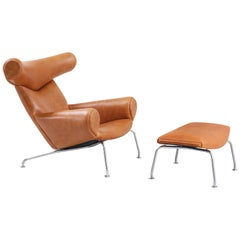 Hans J. Wegner AP-46 Ox Chair with Ottoman for A.P. Stolen
