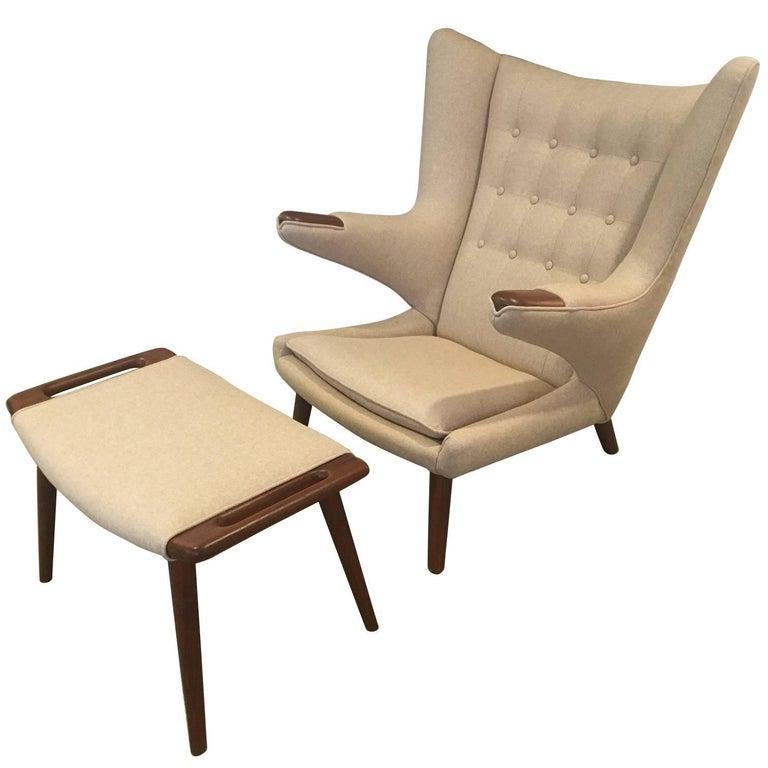 Hans J. Wegner AP Stolen Papa Bear Chair and Stool, 1950s