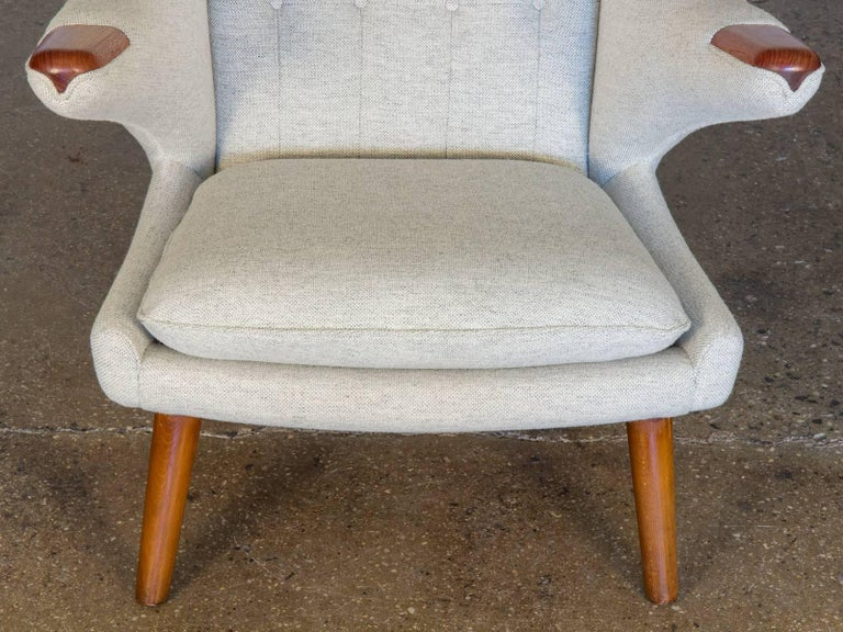Scandinavian Modern Hans J. Wegner AP19 Papa Bear Chair and Ottoman For Sale