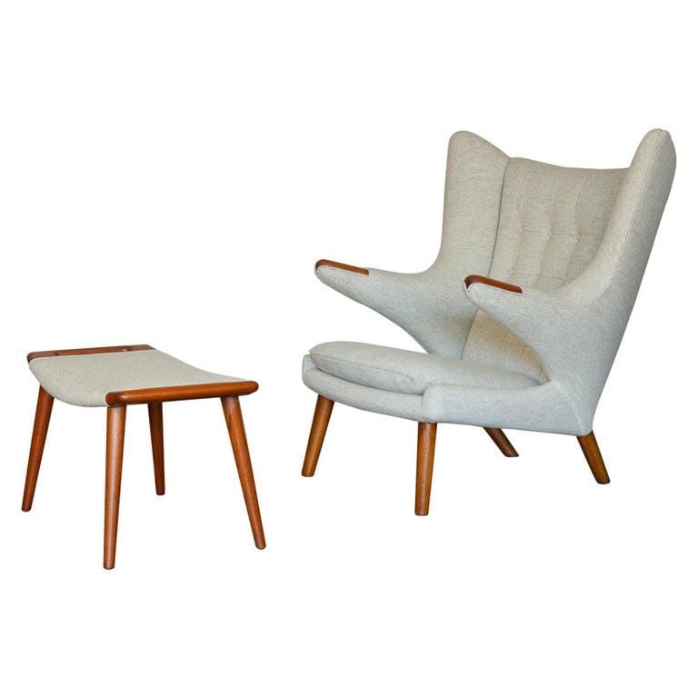 Hans J. Wegner AP19 Papa Bear Chair and Ottoman For Sale